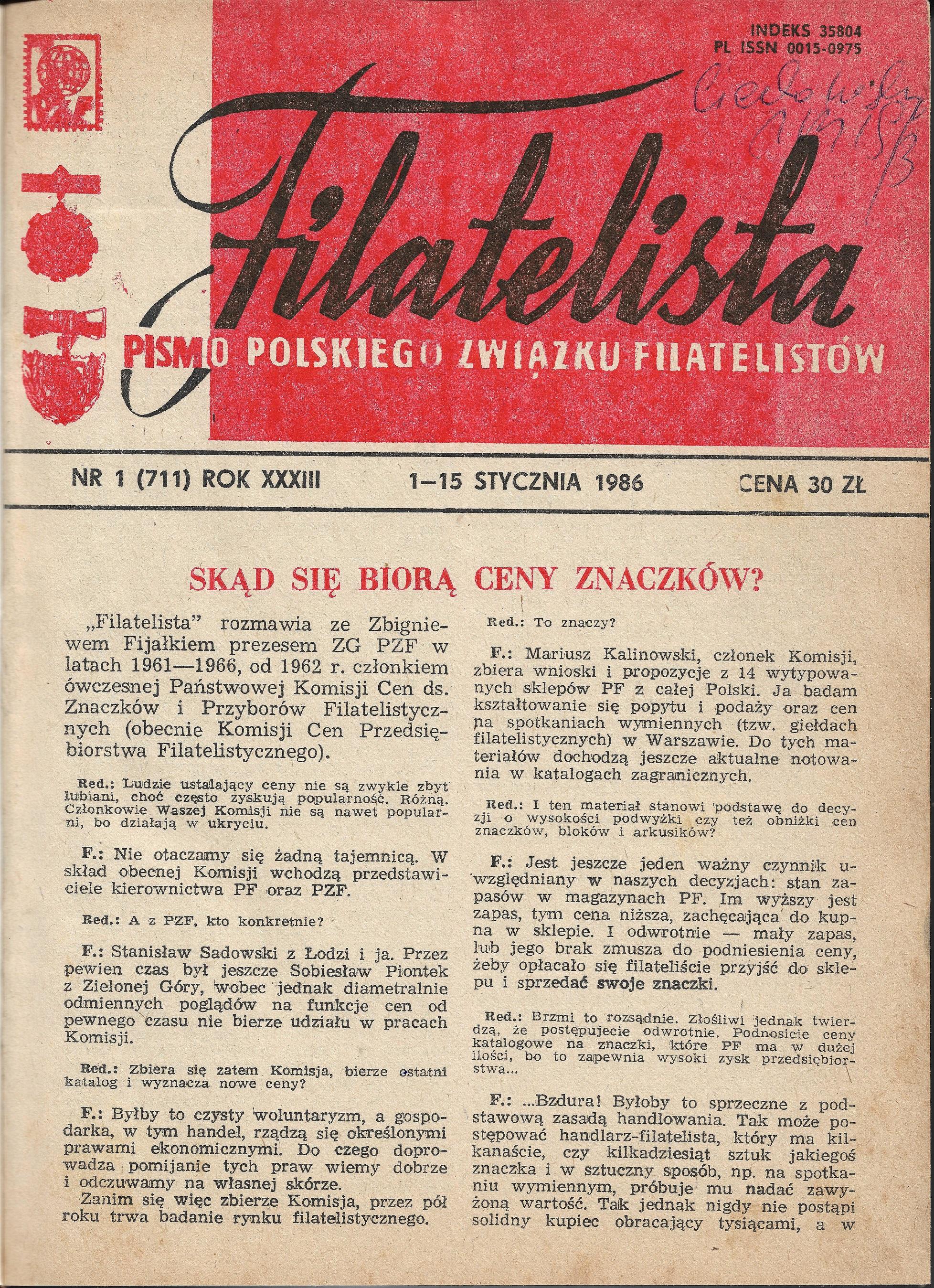 Filatelista 1-15 stycznia 1986 Nr 1 (711)