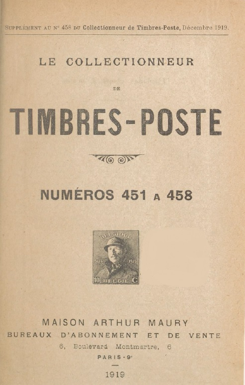 Le Collectionneur de timbres-post – numeros 451 a 458 – Janvier 1919